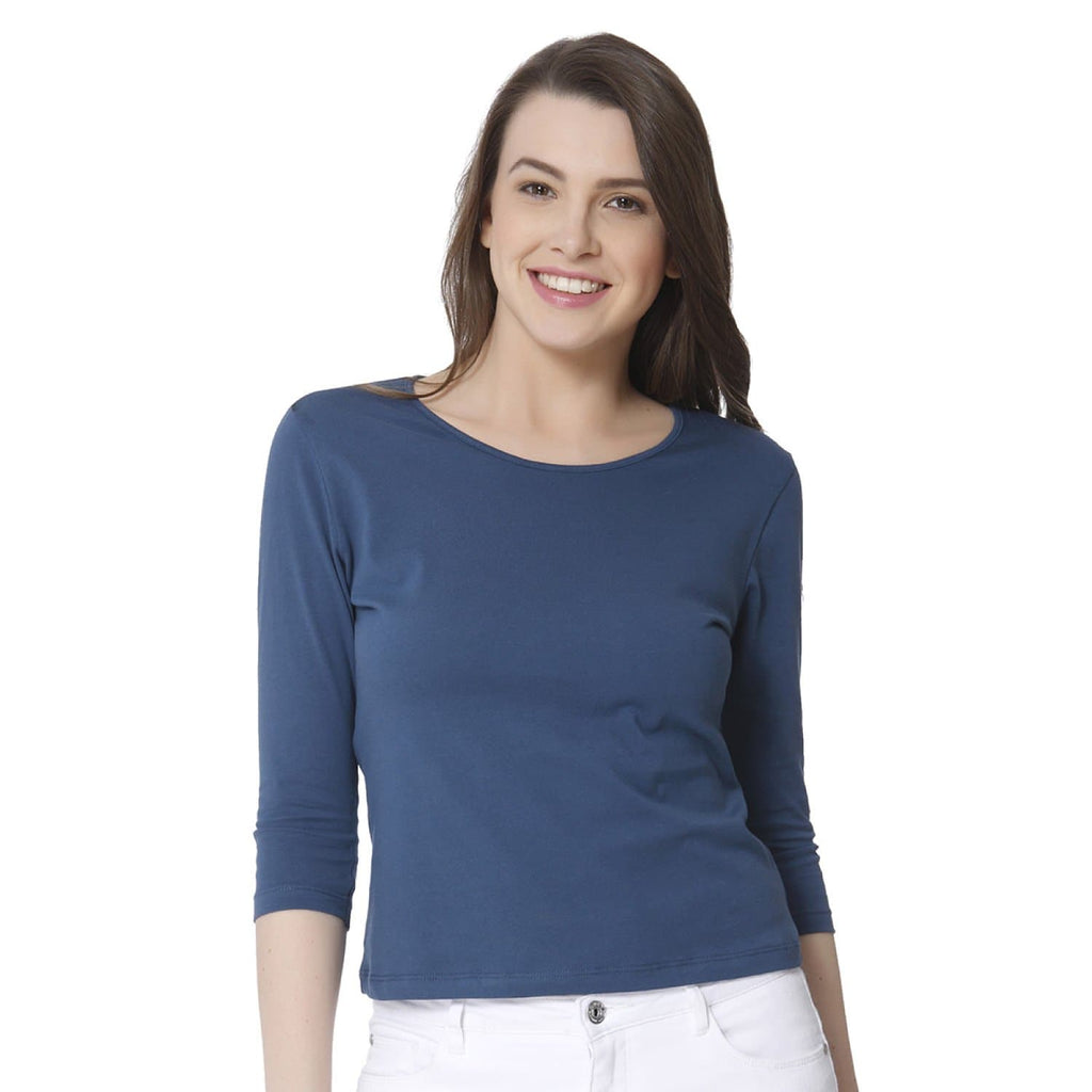 Plain Stone Blue Women's Snip Top - Teezo Lifestyle