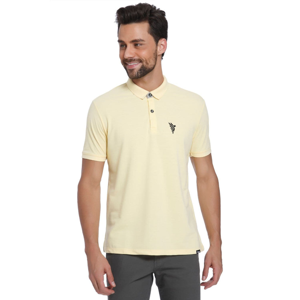 Eagle Pocket Print Pastel Yellow Pique Men's Polo T-shirt - Teezo Lifestyle