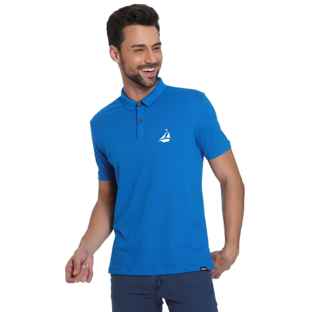 Ship Pocket Print Royal Blue Pique Men's Polo T-shirt - Teezo Lifestyle