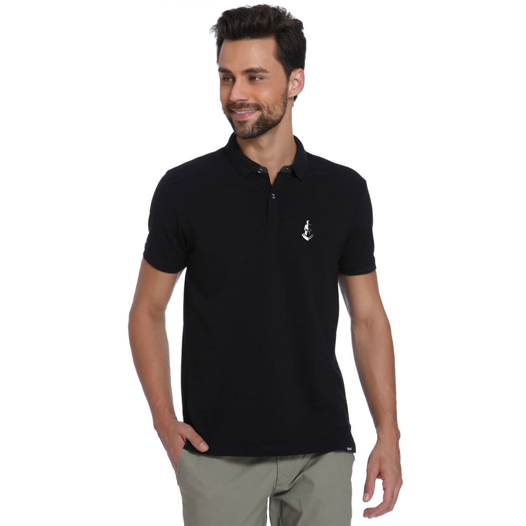 Warrior Pocket Print Black Pique Men's Polo T-shirt - Teezo Lifestyle