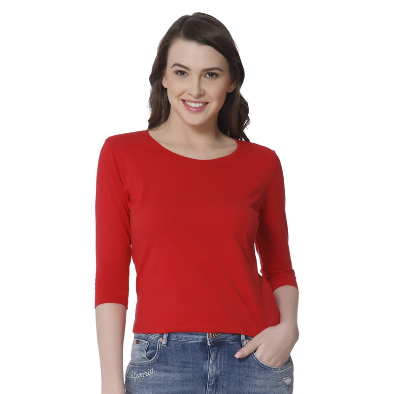 Plain Red Women's Snip Top - Teezo Lifestyle