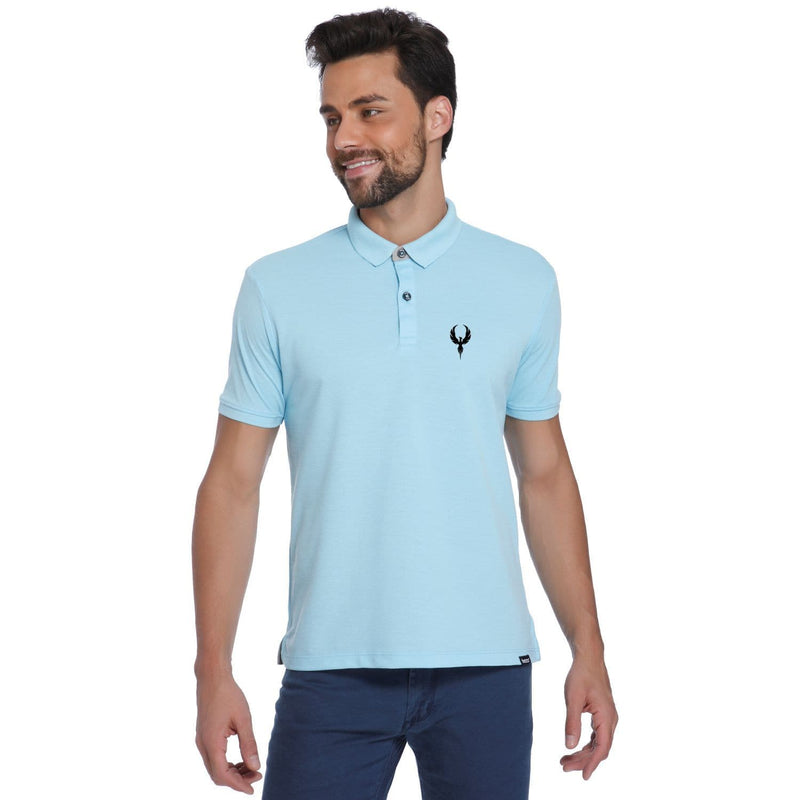 Falcon Pocket Print Sky Blue Pique Men's Polo T-shirt - Teezo Lifestyle