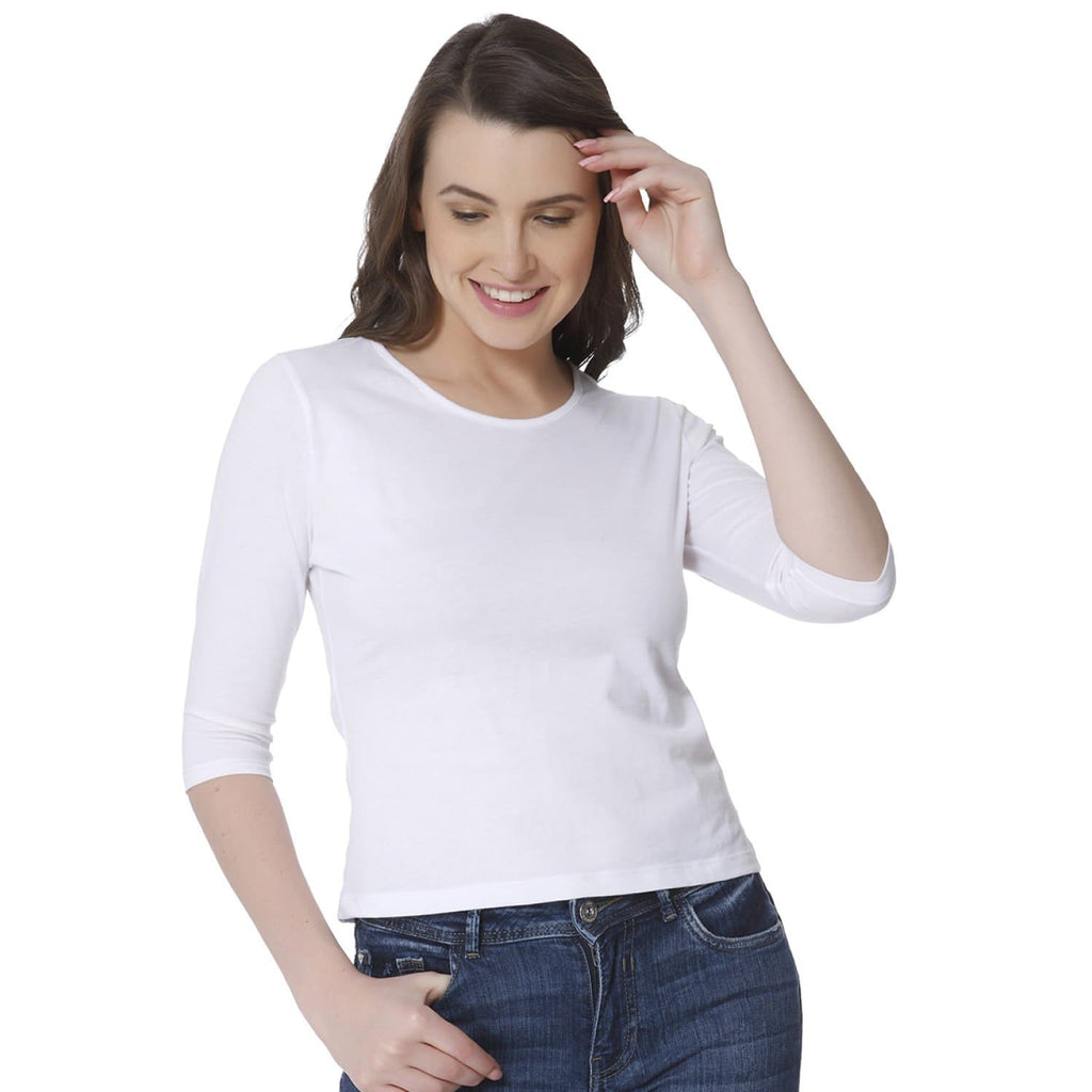 Plain White Women's Snip Top - Teezo Lifestyle