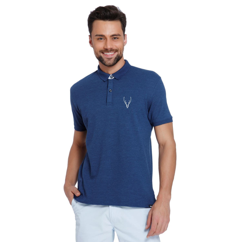 Raindeer Pocket Print Blue Melange Pique Men's Polo T-shirt - Teezo Lifestyle