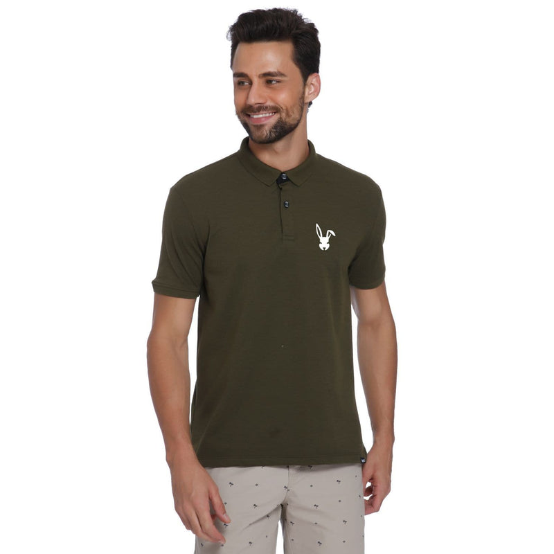 Bunny Pocket Print Olive Pique Men's Polo T-shirt - Teezo Lifestyle