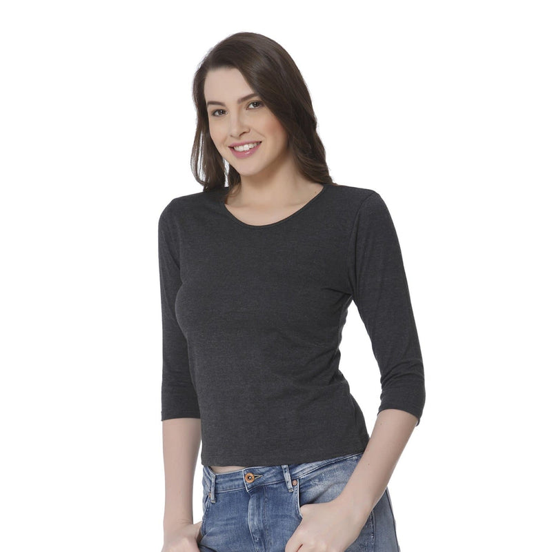 Plain Charcoal Melange Women's Snip Top - Teezo Lifestyle