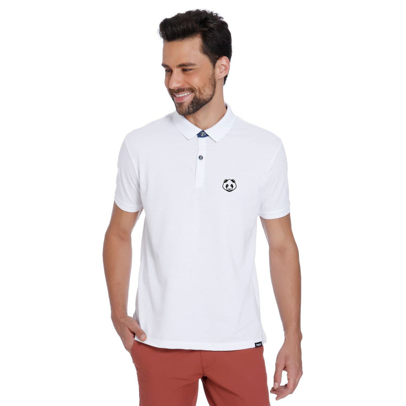 Panda Pocket Print White Pique Men's Polo T-shirt - Teezo Lifestyle