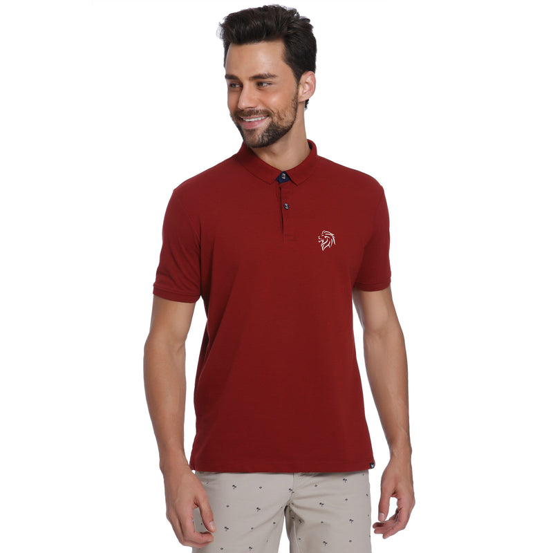 Lion Pocket Print Maroon Pique Men's Polo T-shirt - Teezo Lifestyle