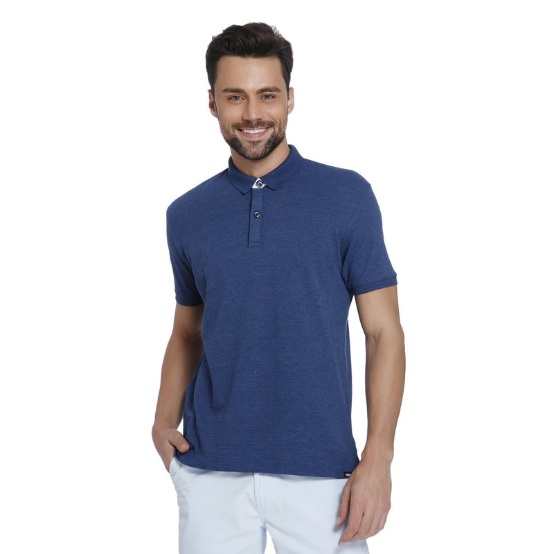 Blue Melange Pique Men's Polo T-shirt - Teezo Lifestyle