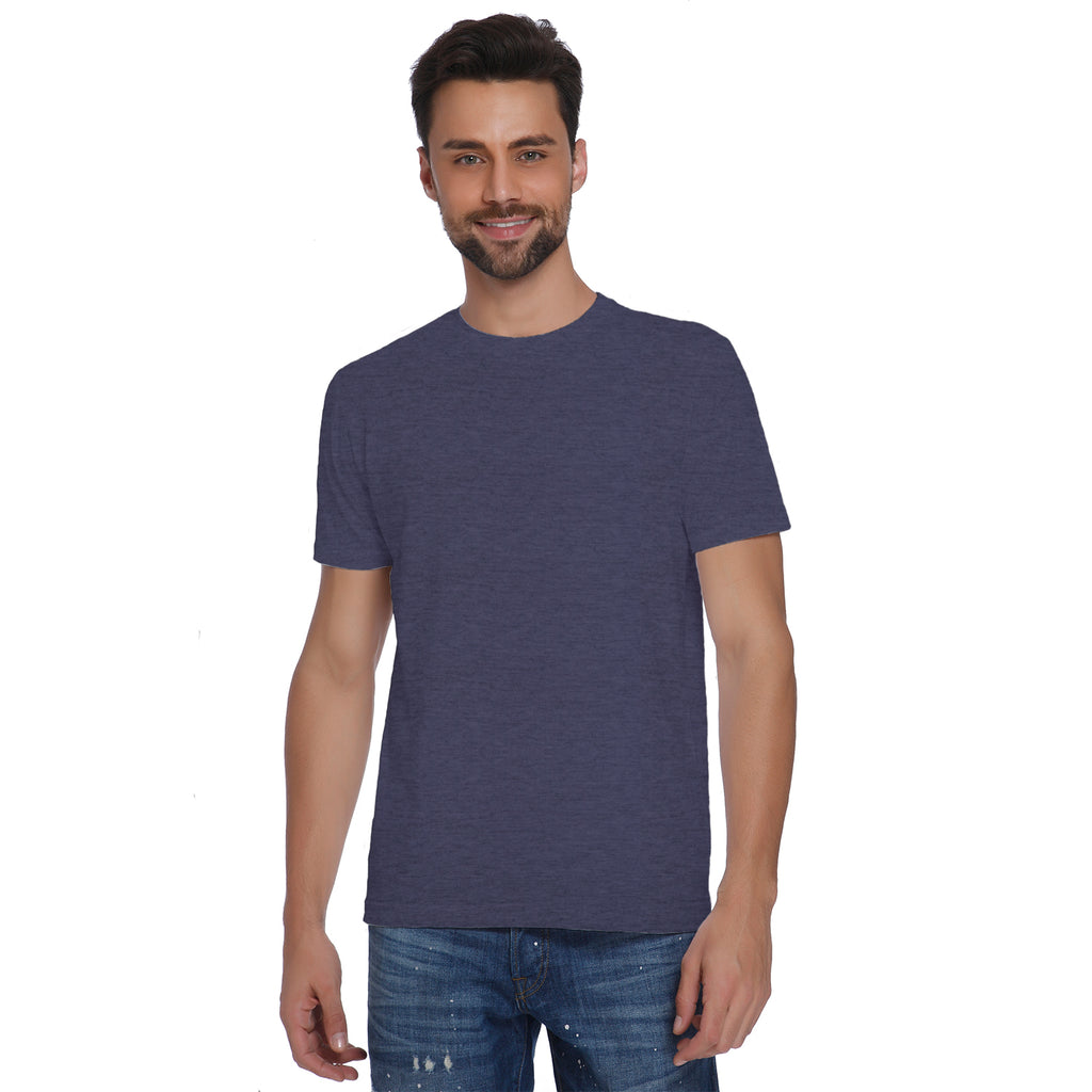 Plain Blue Melange Men's T-shirt