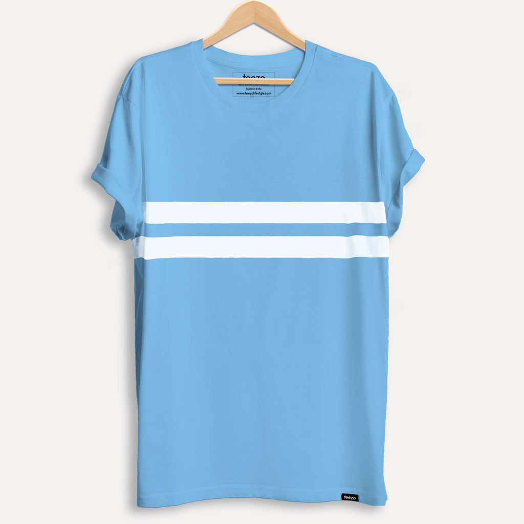 Sky Blue Striped Men's T-shirt - Teezo Lifestyle