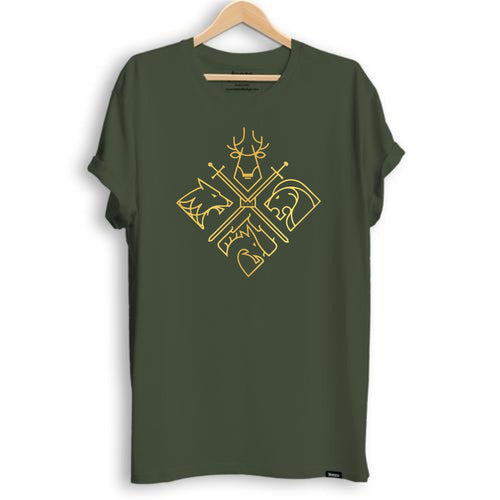 Game Of Thrones- The Houses Metallic Print Unisex T-shirt - Teezo Lifestyle