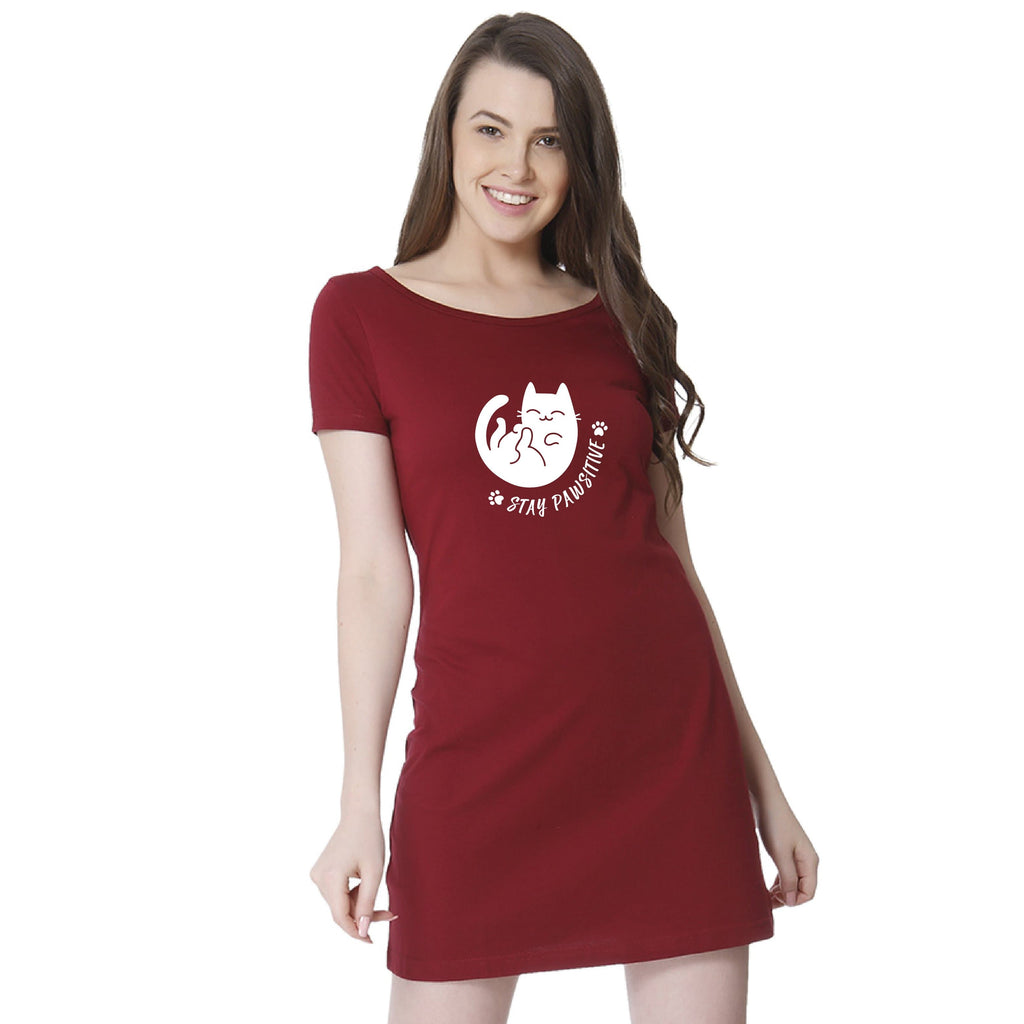 PAWsitive T-shirt Dress - Teezo Lifestyle