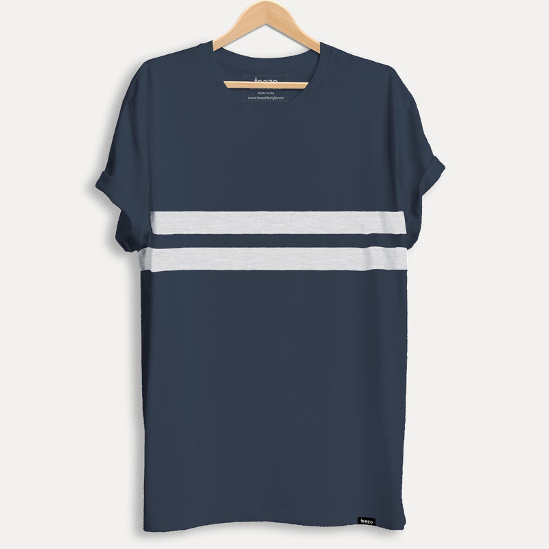 Navy Blue Striped Men's T-shirt - Teezo Lifestyle