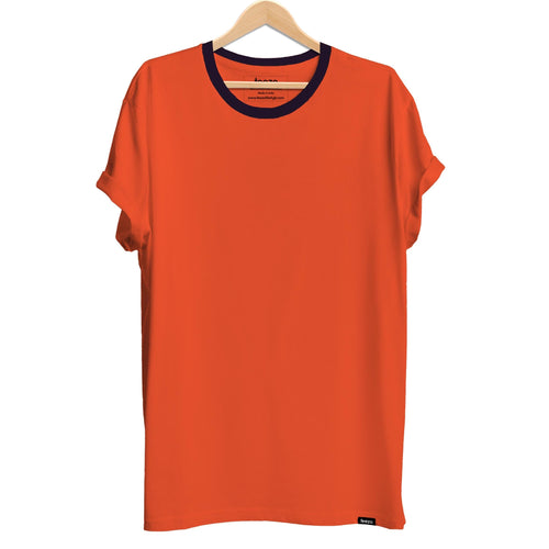 Plain Orange with Blue Contrast Rib Men's T-shirt - Teezo Lifestyle