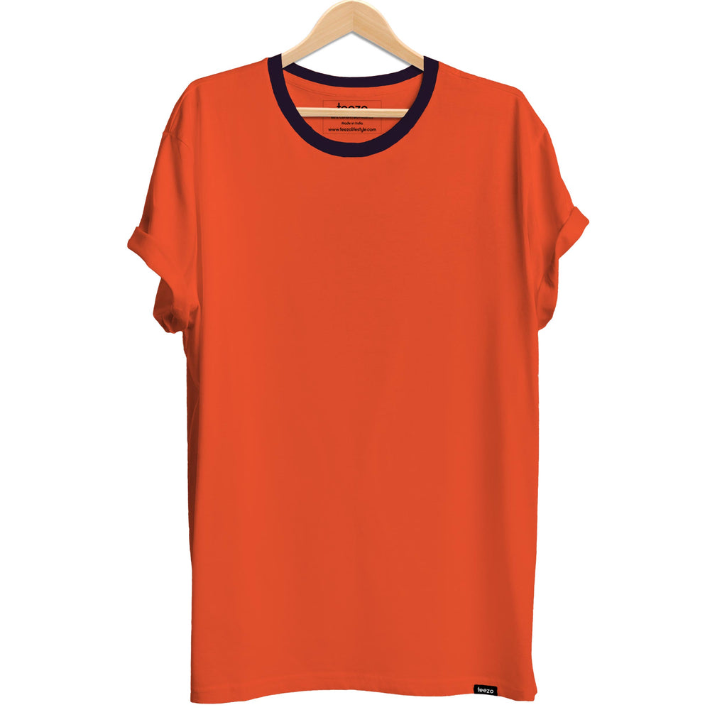 Plain Orange-Navy Melange Men's T-shirt