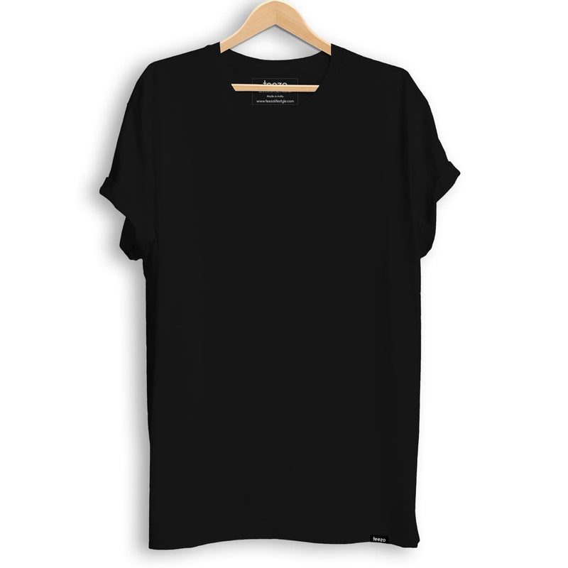 Plain Jet Black Men's T-shirt - Teezo Lifestyle
