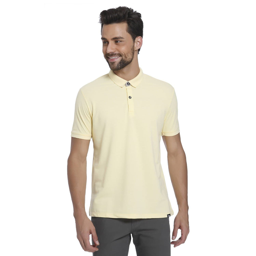 Pastel Yellow Pique Men's Polo T-shirt - Teezo Lifestyle