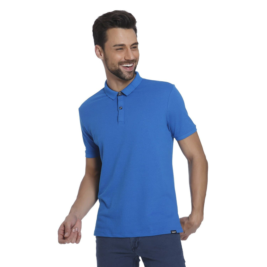 Royal Blue Pique Men's Polo T-shirt - Teezo Lifestyle