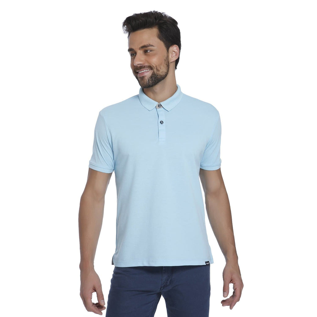 Sky Blue Pique Men's Polo T-shirt - Teezo Lifestyle