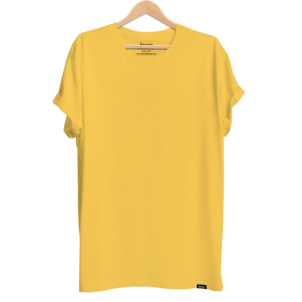Plain Yellow Men's T-shirt - Teezo Lifestyle
