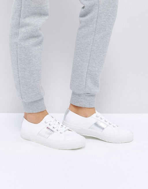 Superga 2750 Silver Metallic Sneakers In White