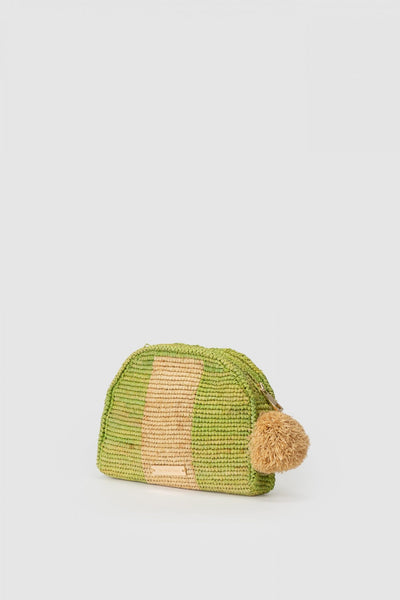 Wolf Gang Bolso Raffia Stripe Clutch – Lime