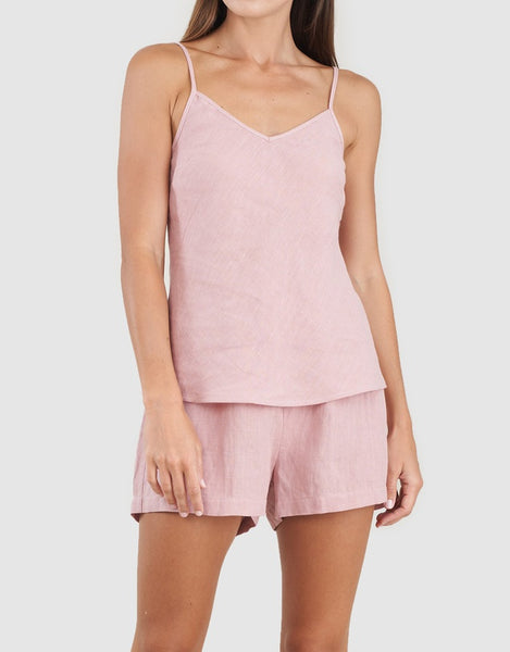 AMELIUS Grace Linen Cami and Short Set-Dusty Rose