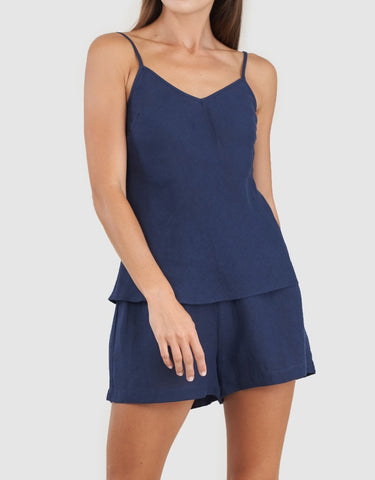 AMELIUS Grace Linen Cami and Short Set-Navy