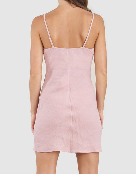 AMELIUS Grace Linen Mini Dress-Dusty Rose