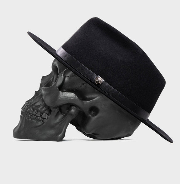BILLY BONES CLUB FEDORA Wide Brim Black Wolf