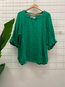 Di Moda Everyday Linen Top Green