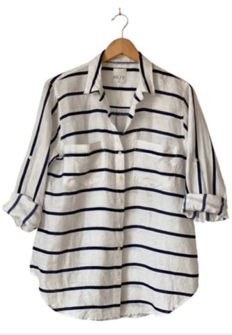 Hut Linen Shirt navy white horizontal stripe