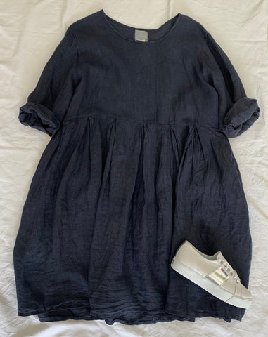 Navy Linen Pleat Dress