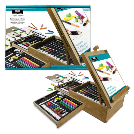 All Media Set w/ Easel Wooden Box 104 piece