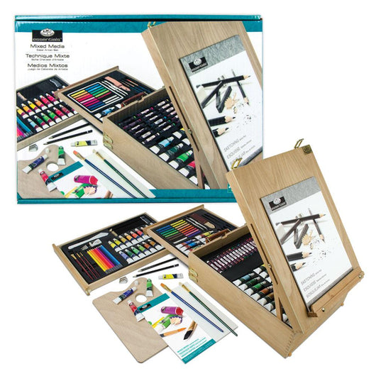 All Media Set w/Easel Wooden Box 150 piece