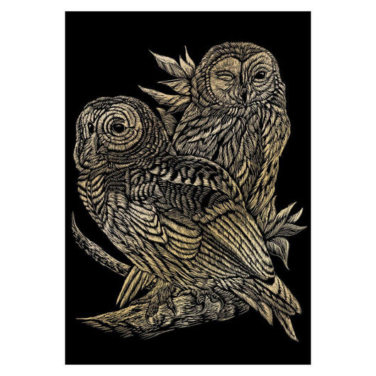 Engraving Art - Owls (Gold)