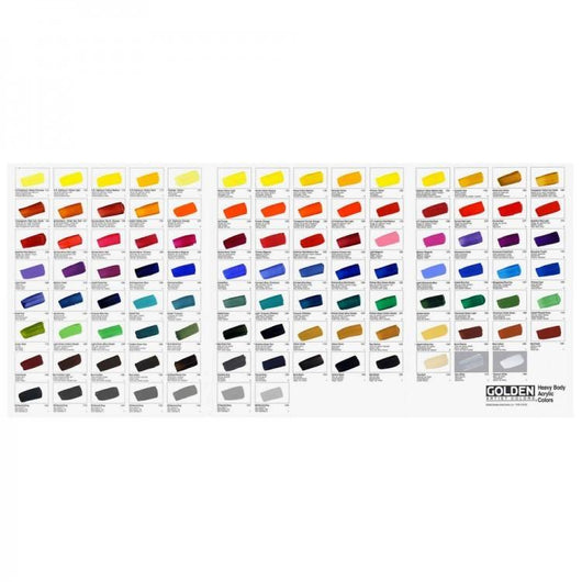 Golden Acrylic: Heavy Body: Hand Painted Colour Chart - Art Academy Direct