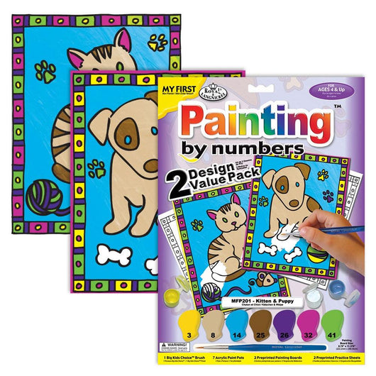 My First Paint by Numbers (Set of 2) - Kitten & Puppy (Ages 4+) - Art Academy Direct