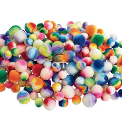 Rainbow Pom Poms (Assorted Sizes) - Art Academy Direct