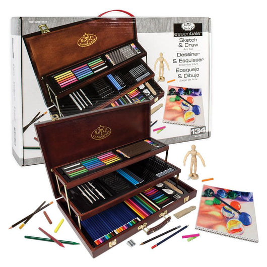 Sketching & Drawing Set Wooden Box 134 piece - Art Academy Direct
