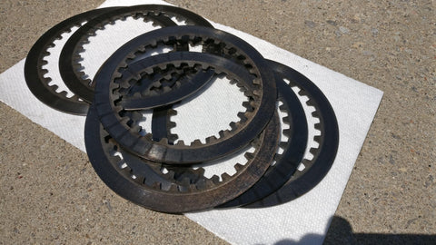 burnt motorcycle clutch plates
