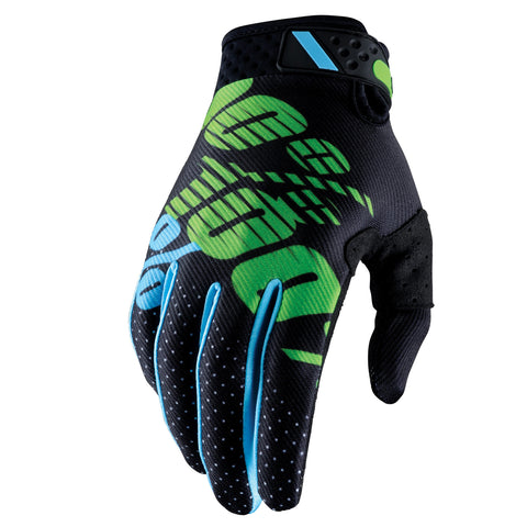 100% Ridefit MX Gloves Black-Lime