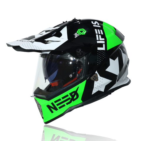 LS2 Pioneer MX436 Dualsport Helmet (BLOCK BLACK GREEN)