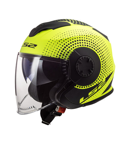 LS2 OF570 Verso Helmet (SPIN HI VIS YELLOW)