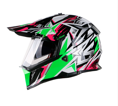 LS2 Pioneer MX436 Dualsport Helmet (STRONG White / Green / Pink)