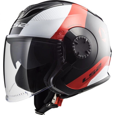 LS2 OF570 Verso Helmet (TECHNIK BLACK WHITE RED)