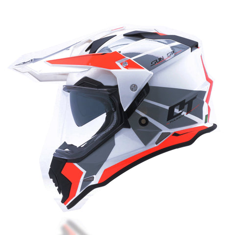 Yohe 632A Dualsport Adventure Helmet (8# Glossy White/Fluo Red)