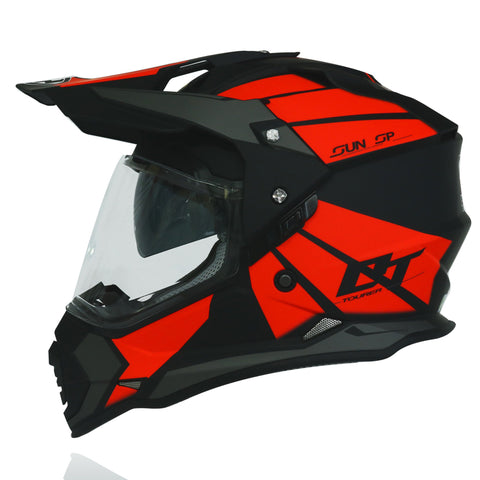 Yohe 632A Dualsport Adventure Helmet (8# Matt Black/Fluo Red/D.Gray)