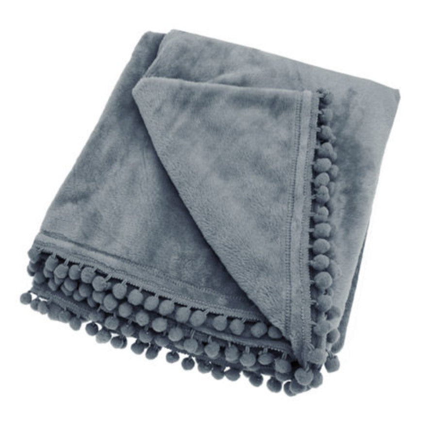 ONLY ONE LEFT! Walton & Co Cashmere Touch Fleece Throw (Charcoal)